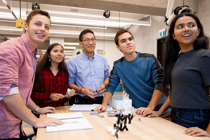Students meet with Dean Chris Yip in the Myhal Centre Fabrication Facility